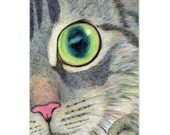 grey tabby cat drawing, digital print - you found me - realistic cat face drawing , cat lover's gift, nursery room decor, home wall dorm