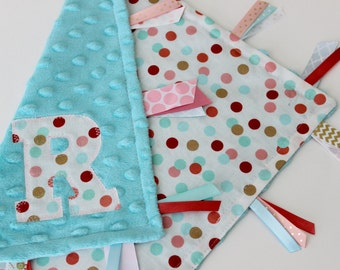 Taggie blanket, taggie, custom, Personalized, Baby, girl, gift, Minky, Lovey, Sensory, Ribbon, Gold, Coral, Turquoise, Polka dot