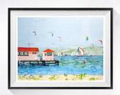 Ocean sailing sailboat boat Sea beach wall art, San Fransisco Bay art print watercolor painting, Nautical wall decor Painting blue artwork