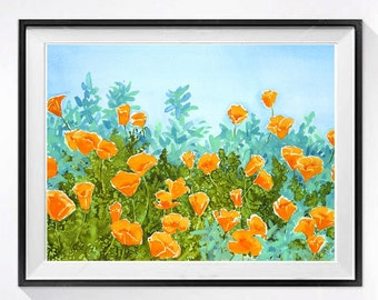California Landscape Art Watercolor Painting Art Print Poppie flowers sage Orange painting turquoise painting Colorful floral painting L