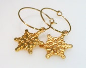 Snowflake Earrings, Snowflake Hoops, Gold Plated Hoops, ON SALE, Gifts for Her, Valentines Gift, Dangle Earrings, Snowflake