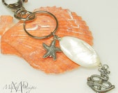 Mother of Pearl Shell Anchor Starfish Charm Key Chain, Purse Charm, Zipper Pull