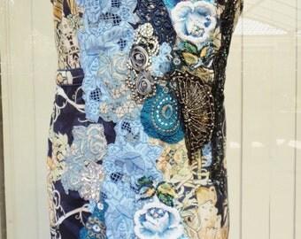 art to wear, wearable art, miss saigon, theatre dress, handmade dress, beaded dress, applique dress