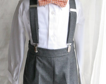 Full outfit of Shorts Bow tie  Suspenders and Shirt  and newsboy hat ring bearer page boy cake smash first birthday outfit