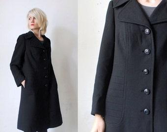 60s black wool coat. mod coat. mod coat. swing coat - large