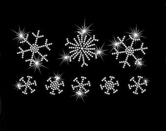Set of 8 (Regular or Mini) snowflakes iron on rhinestone transfer applique patch
