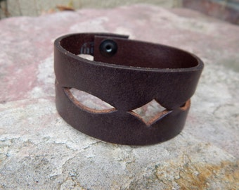 Leather Cuff Bracelet, Brown with Diamond Cutouts FREE SHIPPING (G2P910)