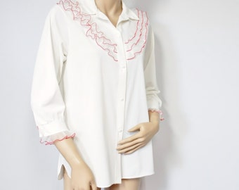Pajama Top Vintage Shadowline Creamy White Lace Trimmed Baby Doll Style PJ Top Size Small