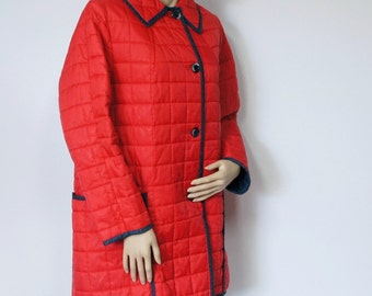 1970 Quilted Coat Car Coat Lightweight Red Jacket White Bear of St. Paul Size Medium