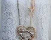 Walk By Faith Textile Art Necklaace, Handmade Fabric Heart Necklace, Shabby Chic Romantic Creams & Tan, Mixed Media, Wearable Art, Victorian