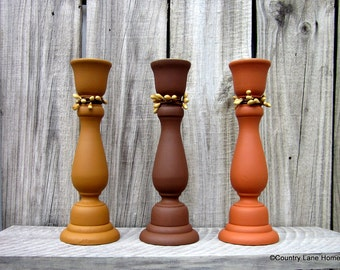Taper Candle Holders, Set of Three, Yellow, Brown, Terra Cotta, Candle Sticks, Painted, Pip Berry Accent, Rustic Decor, Primitive Style