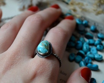 Blue Kingman Turquoise Silver Stacker Ring