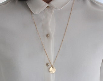 Gold Zodiac Constellation necklace - star sign disc pendant - choose your symbol