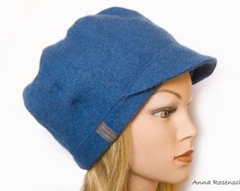 peaked cap  blue jeans blue wool hat flower