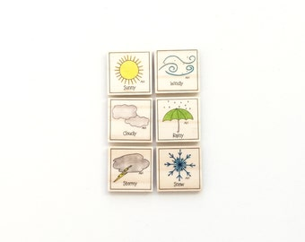 Weather - Magnet Set of 6 - Calendar Magnets- Educational Magnets