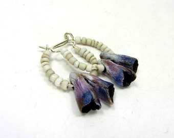 Purple Brass POD Hoop Earrings - Boho Artisan Ceramic Dangle Earrings No. 211