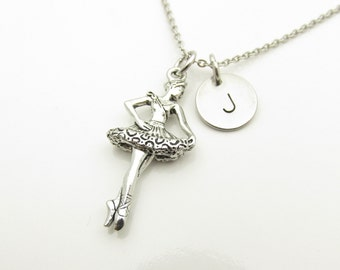 Ballerina Necklace, Ballet Necklace, Dancer Necklace, Personalized, Initial Necklace, Music and Dance, Antique Silver Ballerina Charm Y362
