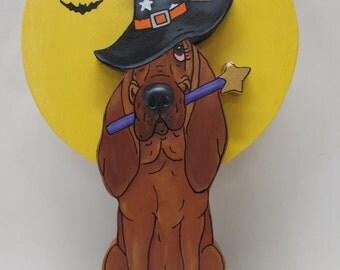 Hand Painted Red Bloodhound Table Top Art - Halloween Witch