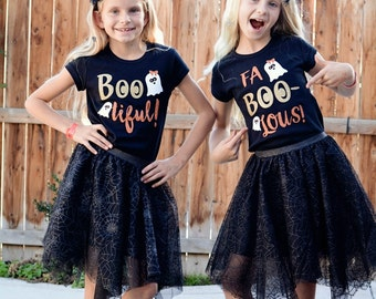 Girls Halloween Shirt, Boo ti ful Shirt, Girls Glitter Shirt, Gold Glitter Shirt, Girls Sparkle Shirt, Halloween Ghost shirt