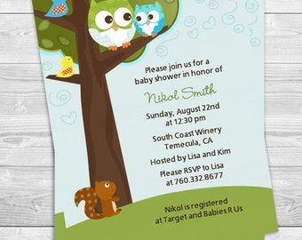 Boy Owl Baby Shower Invitation - Look Whose Having A Boy Invite - Blue Owl Baby Shower - Professionally printed *or* DIY printable PDF