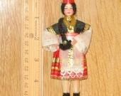 Greece Nation Doll, small 5 inch w pleated skirt, vtg souvenir