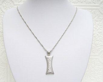 "Vintage Pave Crystal 925 Sterling Silver Pendant Necklace 22.5"""
