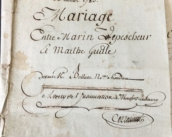 1783 French Marriage Contract Antique 19th Century Wedding France Calligraphy