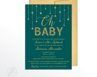 Gold Glitter Gender Reveal Party Invitation, Teal New Mom Celebration, Unisex Baby Shower Invite, Meet the Baby Party, Gender Neutral