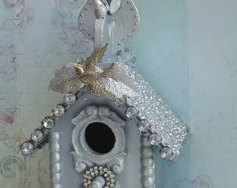 Silver Swallow Birdhouse Decor Village Church Shabby Glitter Rhinestone