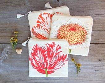Makeup Bag, Cosmetic Bag, Valentines Day Gift, Floral Bag, Zipper Pouch, Zipper Bag, Bridesmaid Gifts, Tulip Bag, Sunflower Bag, Jannysgirl