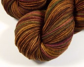 Hand Dyed Sock Yarn - Sock Weight 4 Ply Superwash Merino Wool Yarn - Clove Multi - Knitting Yarn, Fingering Yarn, Brown Beet Gold, DIY Gift