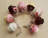 Polymer Clay Bakery Cupcake Charm Bracelet, Food Jewelry, Statement Jewelry, Chocolate, Vanilla, Strawberry, Sprinkles