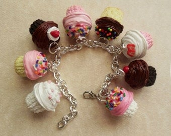 Polymer Clay Bakery Cupcake Charm Bracelet, Food Jewelry, Statement Jewelry, Chocolate, Vanilla, Strawberry, Sprinkles