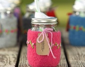 Felted wool mason jar cozy set pink with flowers