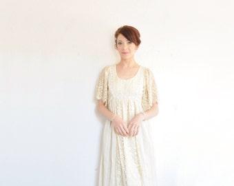 boho crocheted lace wedding dress . art nouveau bridal gown .small.medium .sale