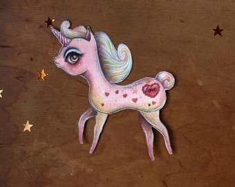 Unicorn paper poppet - cute pink unicorn assembled articulated paper doll  - by KarolinFelix