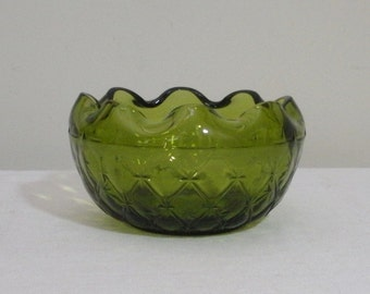 Vintage Indiana Glass Duette Green Glass Rose Bowl