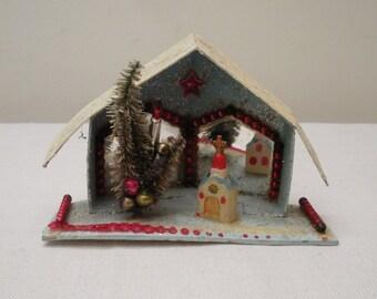 Vintage Putz Cardboard House with Mirror & Church