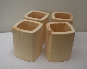 Unfinished Wood Pencil Holders - Lot of 4