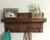 Entryway shelf , shelf with hooks, coat rack, key holder, farmhouse decor, reclaimed wood shelf, rustic shelf, entryway decor, kitchen shelf