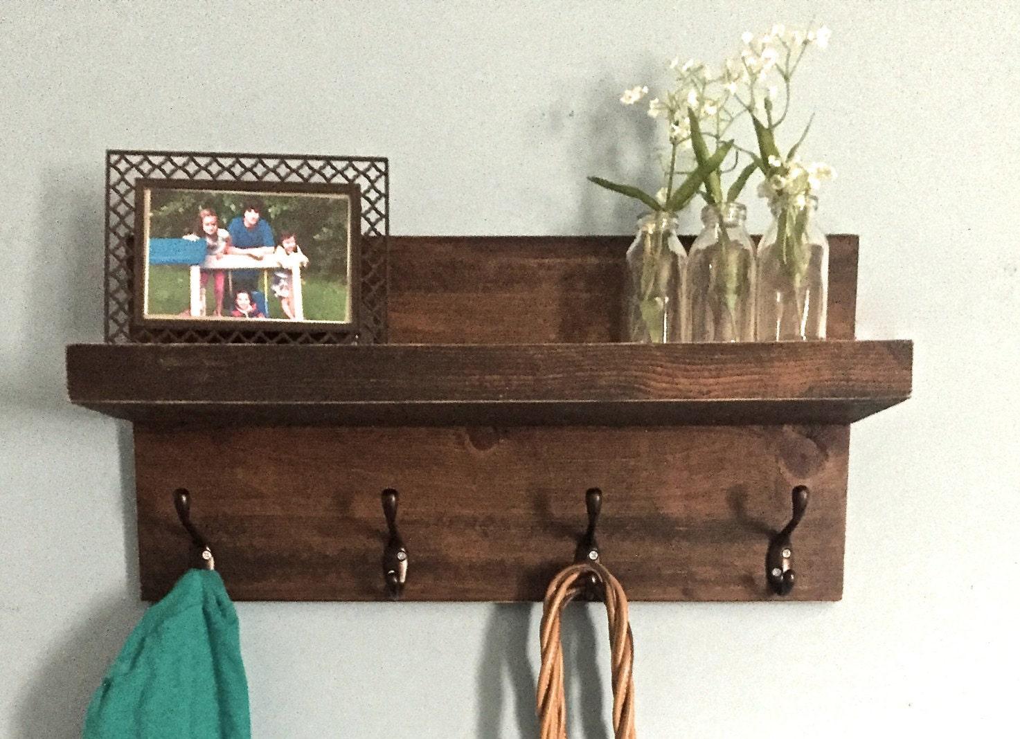 entryway shelf shelf with hooks coat rack key holder. Black Bedroom Furniture Sets. Home Design Ideas