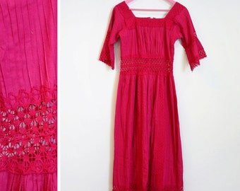 Vintage 1970s Mexican Crochet BOHO Cotton Maxi Bell Sleeved Pink Size L