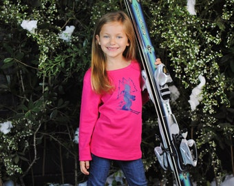 Ski Slope for Girls by Nostalgic Graphic Tees in Hot Pink with Navy