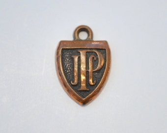 Vintage JCP charm monogram copper plated jcp necklace charm 1950's shield shape JCP monogram charm JPC charm