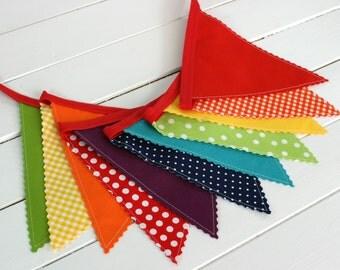 Birthday Decoration, Colorful Bunting, Fabric Banner Flags, Baby Nursery Decor, Cake Smash, Rainbow Baby - Rainbow, Red, Blue, Purple
