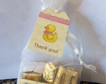 Baby Shower Favor Tags  - Rubber Ducky - Pink or Blue Bow - Vintage Look Parchment Card stock - Ships Next Day!