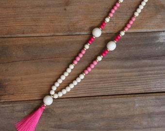 Bubble Gum Pink Tassel Necklace