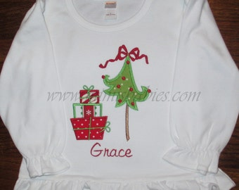 Whimsical Christmas Tree with Gifts Girls Christmas Shirt Funky Christmas Tree Shirt