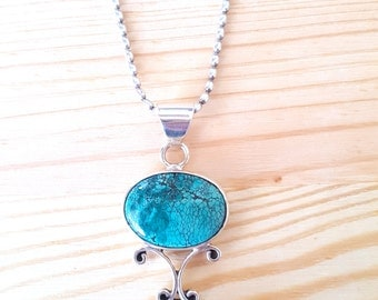 SALE...Gorgeous Art Nouveau Style 925 Sterling Silver Turquoise Pendant. Perfect Jewelry Gift. Gift for her. ETSY Gift