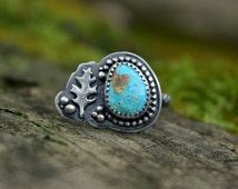 Turquoise and Sterling Silver Statement Ring - Oak Leaf - Beaded Band - Unique Gift for Her - Oak Trees - Size 7